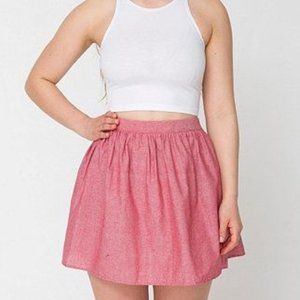 American Apparel Red Chambray High Waisted Mini Skirt